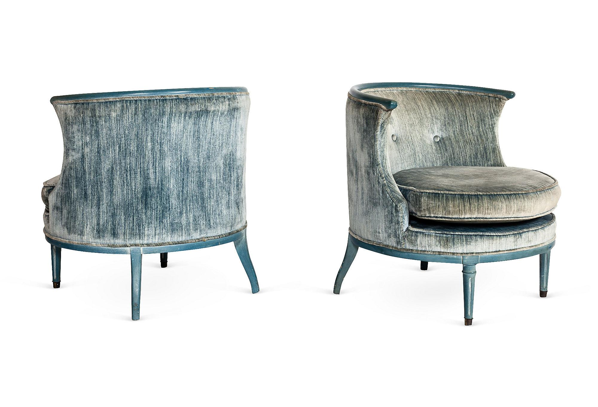 One Kings Lane - Kelly Wearstler - Vintage Blue Circular Chairs, Pair