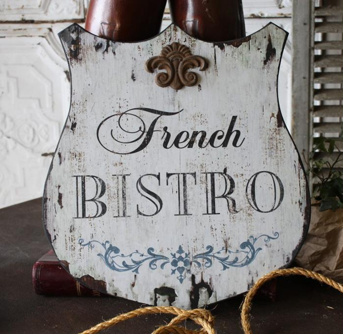 Bistro Shield Wood Sign $26