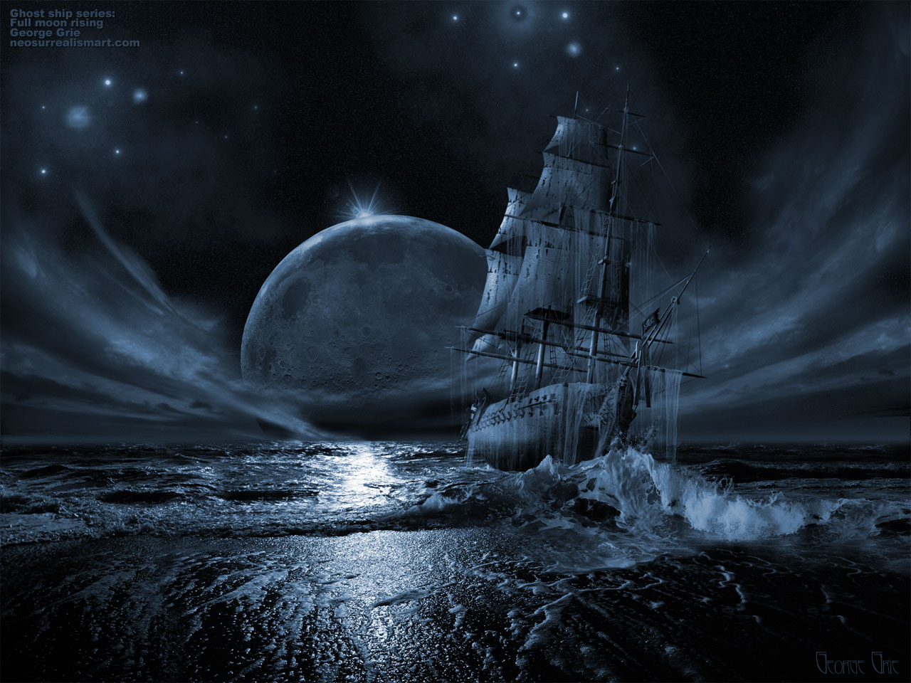 Fantasy Art, 3D Digital Art, Ghost ship series: Full moon rising Flying Dutchman Ghost ships pi.. wallpaper