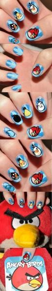 try angry birds nail art design - StyleCraze