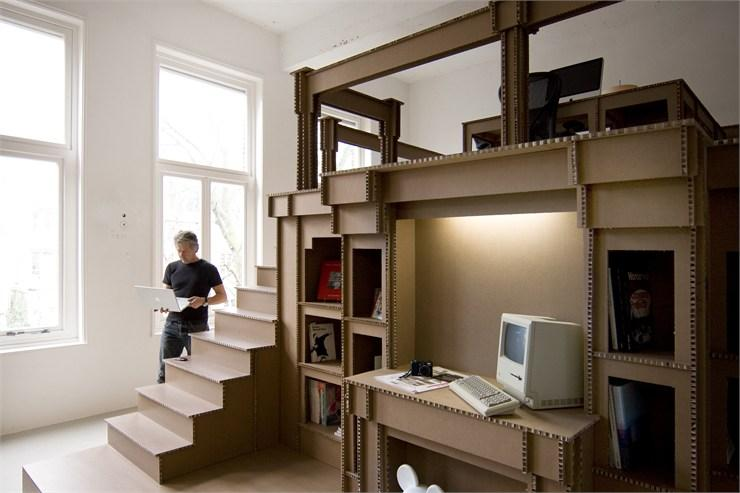 Nothing, cardboard office interior, Amsterdam, 2011