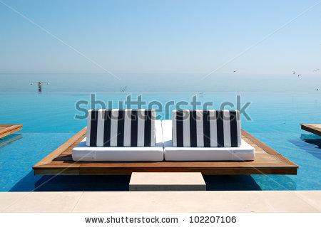 Infinity Swimming Pool By Beach At The Modern Luxury Hotel, Pieria, Greece Stock Photo 102207106 : Shutterstock