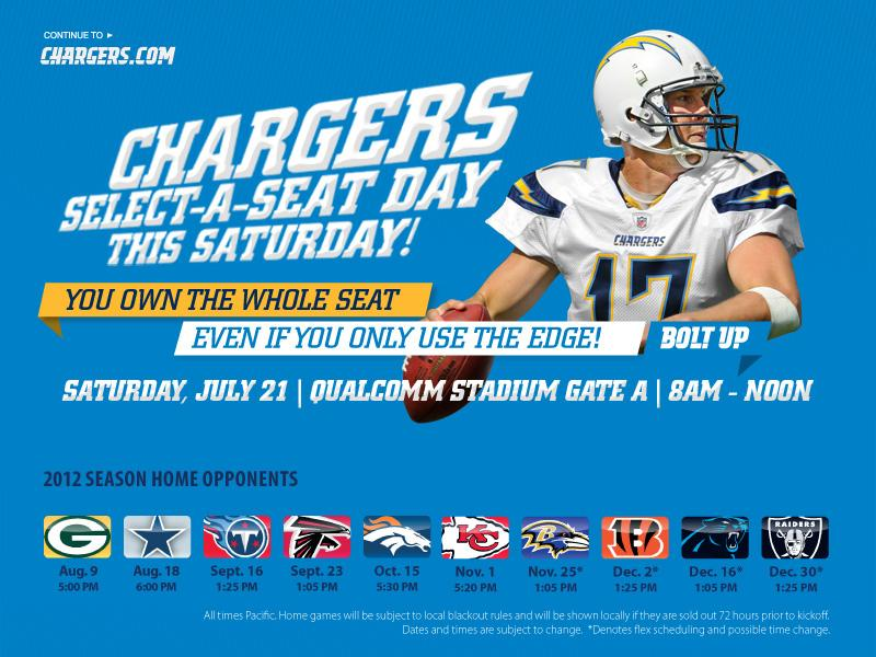 Chargers.com - Select-A-Seat This Saturday