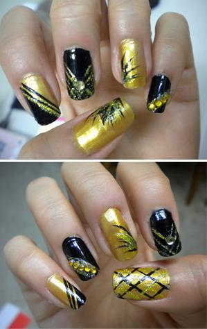 BLACK AND GOLD NAILS - StyleCraze