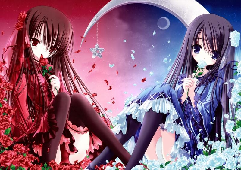 brunettes,panties brunettes panties dress flowers stars blue eyes moon long hair red eyes thigh highs blush anime flow – brunettes,panties brunettes panties dress flowers stars blue eyes moon long hair red eyes thigh highs blush anime flow – Moons Wallpaper – Desktop Wallpaper