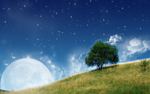clouds,trees clouds trees stars moon hills surreal 1280x800 wallpaper – Moon Wallpapers – Free Desktop Wallpapers