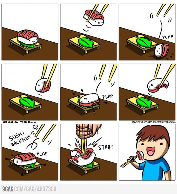 9GAG - Eating sushi like a boss