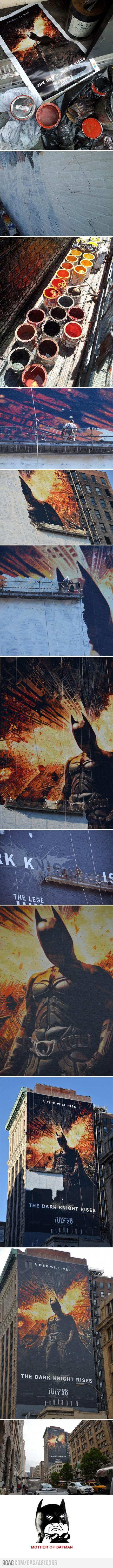 9GAG - Painting a 150-Foot tall Dark Knight Rises mural like a boss
