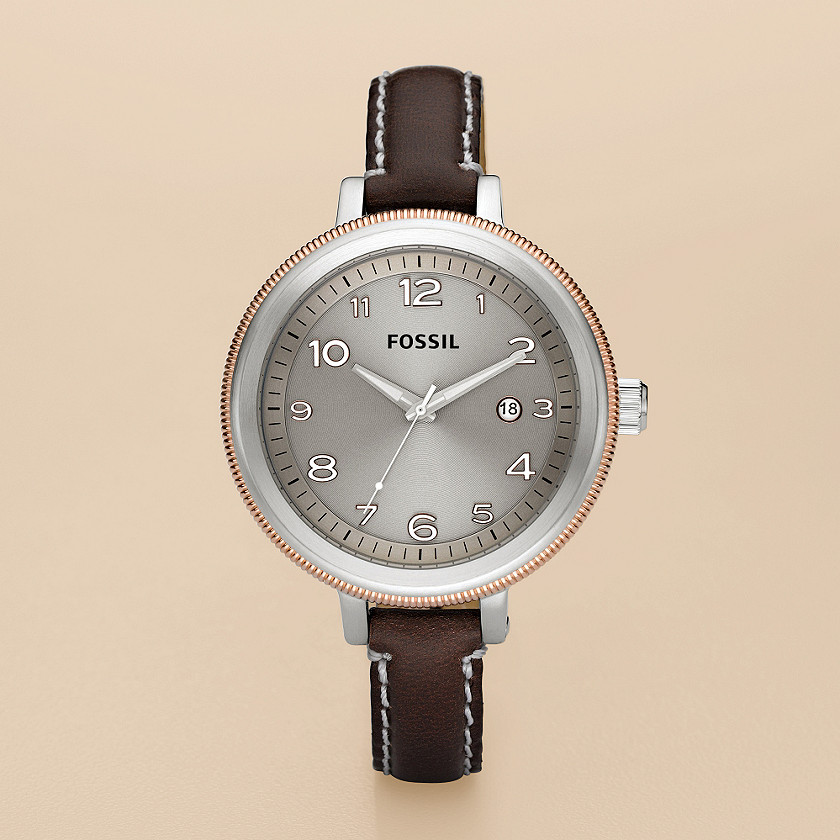 FOSSIL® Watches Leather Watches:Womens Bridgette Leather Watch – Brown with Grey AM4304