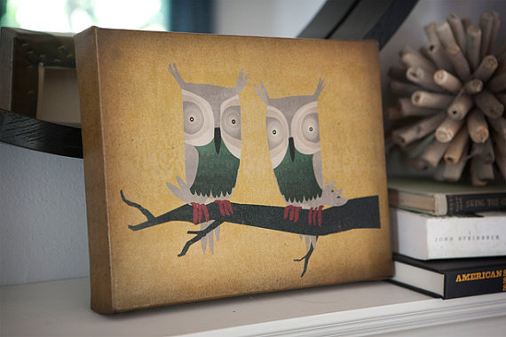 TWO HOOTS Forest Woodland Owl Graphic Art Canvas by nativevermont