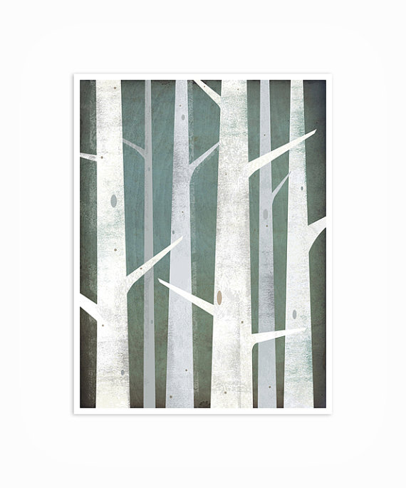 BIRCH TREES Winter Woods 9x12 graphic art by nativevermont on Etsy