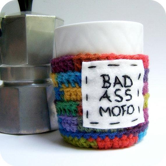 Funny Coffee Mug Cozy Tea Cup Bad Ass Mofo rainbow by KnotworkShop
