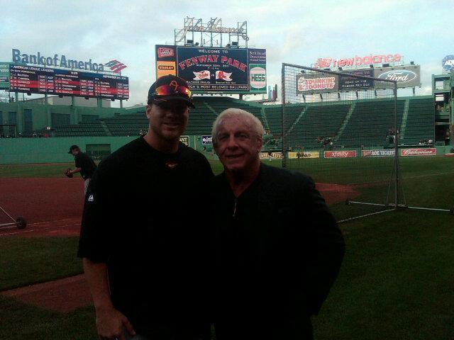 Chris Davis with pro wrestling star Ric Flair at Fenway Park