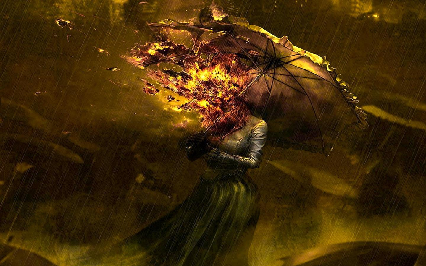 Free Download HD Horrible on Fire Head Girl Umbrella Facebook Timeline Cover - Download FREE Widescreen HD Horrible on Fire Head Girl Umbrella Facebook Timeline Cover