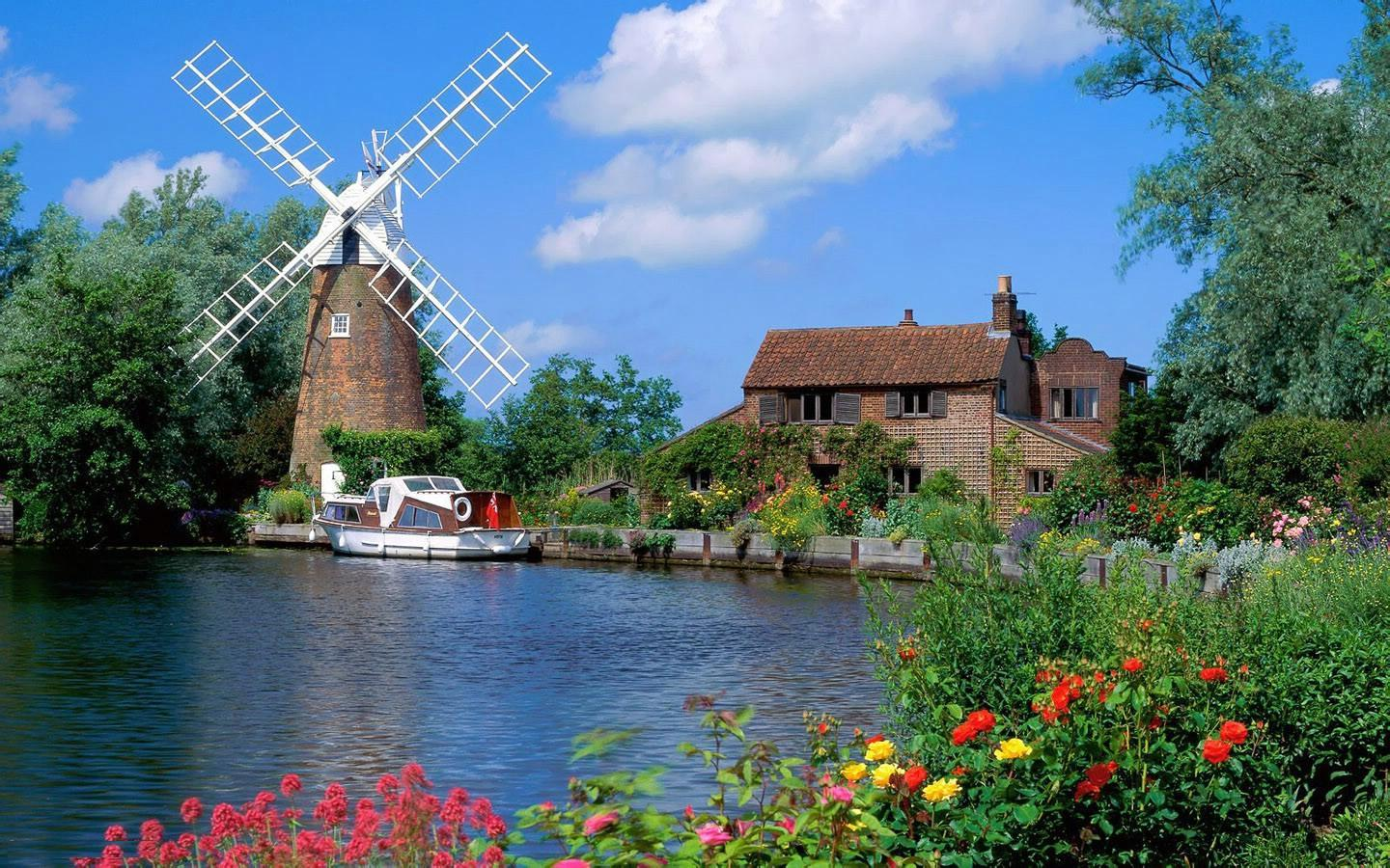 Free Download HD Beautiful Wind Mill 1440x900 - Download FREE Widescreen HD Beautiful Wind Mill