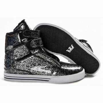 2012 new supra tk society high tops black silver leather men footwear