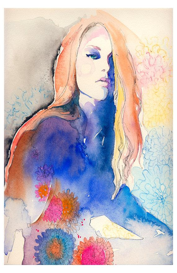 Art Watercolor Fashion Illustration Fashion by silverridgestudio