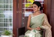 Pista Green tussar jute saree from NVY studio - 3mik.com