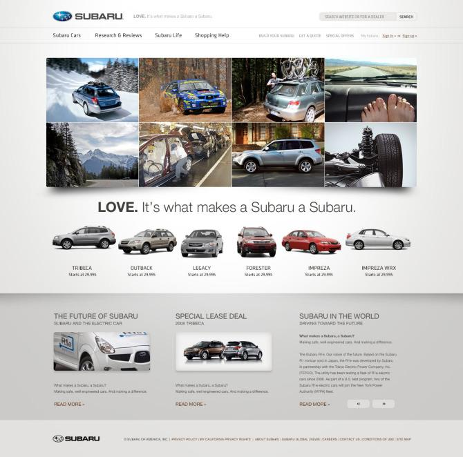 Subaru.com V2 - Tofslie Inc. | The Creative Studio of Edwin Tofslie - Creative Direction, Art Direction, Ideas, Design, Interactive, Web and Maker of Fine Jerky.