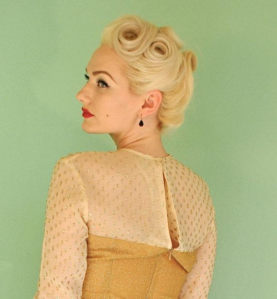 Vintage Gold Gown Old Hollywood Marilyn Monroe by TaraMiSioux