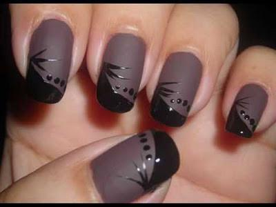 black glitter brown nail art - StyleCraze