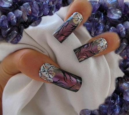violet nail art - StyleCraze