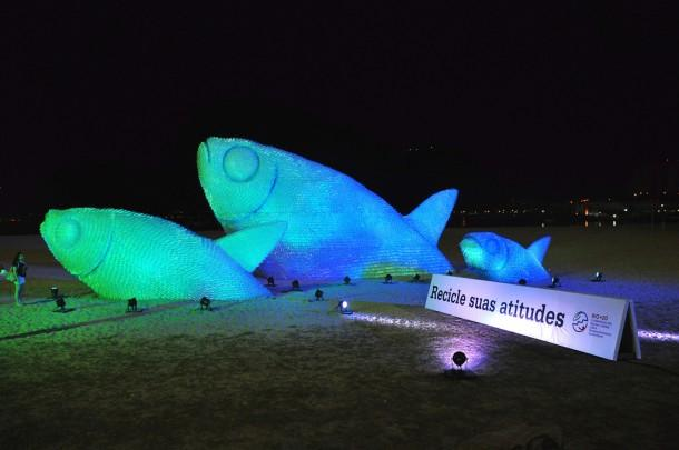 Eco art installation Mega Fishes on the beach in Brazil