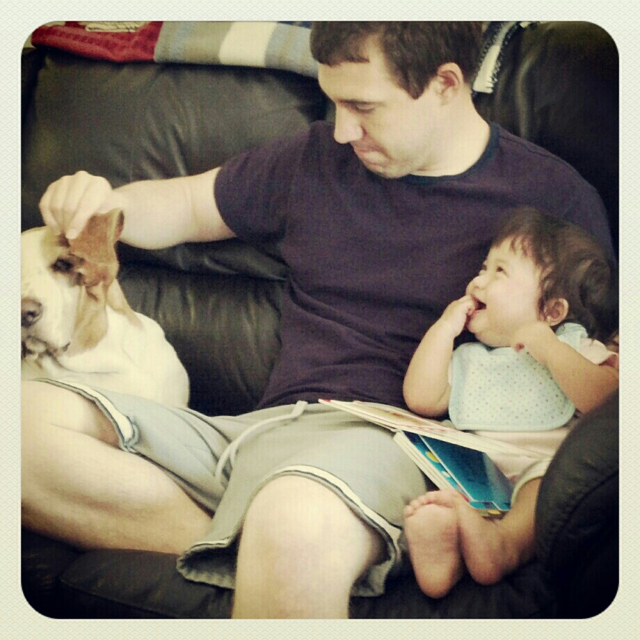 Funny daddy during reading time