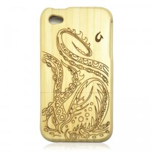 White Bamboo IPhone 4/4s Case- Big Octopus