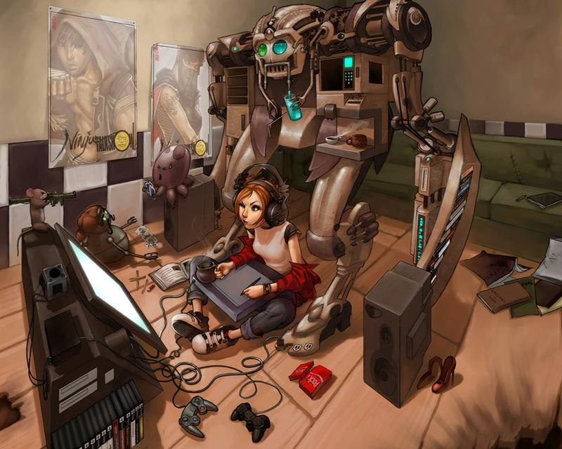 headphones,women headphones women video games robots cyberpunk graphics tablets soft shading anime girls oekaki musum – headphones,women headphones women video games robots cyberpunk graphics tablets soft shading anime girls oekaki musum – Women Wallpaper – Desktop Wallpaper