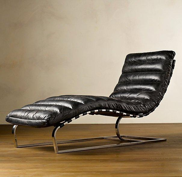 Fancy - Oviedo Chaise Slate Leather | Restoration Hardware