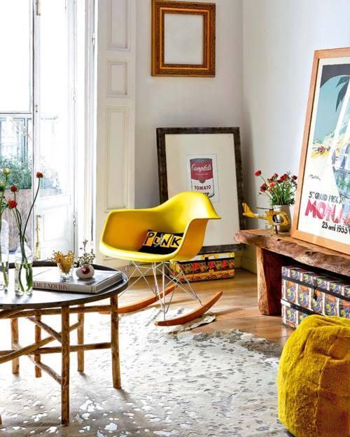 ?bright yellow plexiglass rocking chair - morning breeze