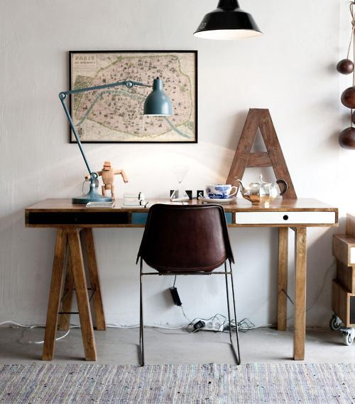 "??? ""A"" ,desk lamp and the old Paris map  - morning breeze"