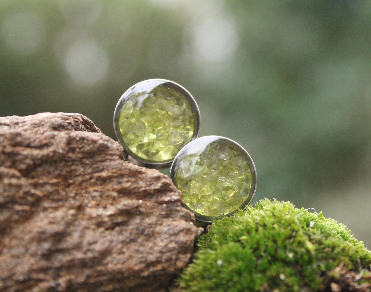 Peridot Gemstone Plugs Real Peridot custom gauges by PluggingAlong