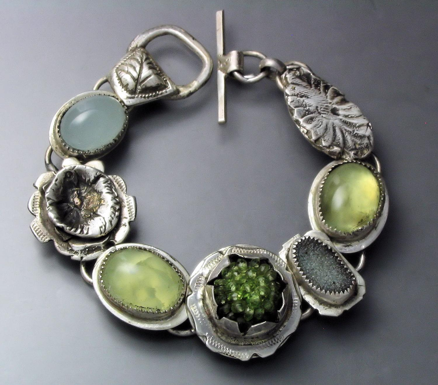 Peridot and Prehnite Bracelet by Temi on Etsy