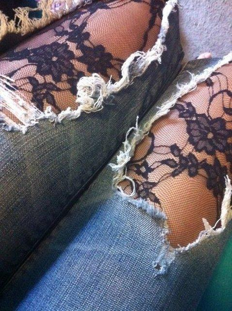 Fancy - Lace tights w/ jeans