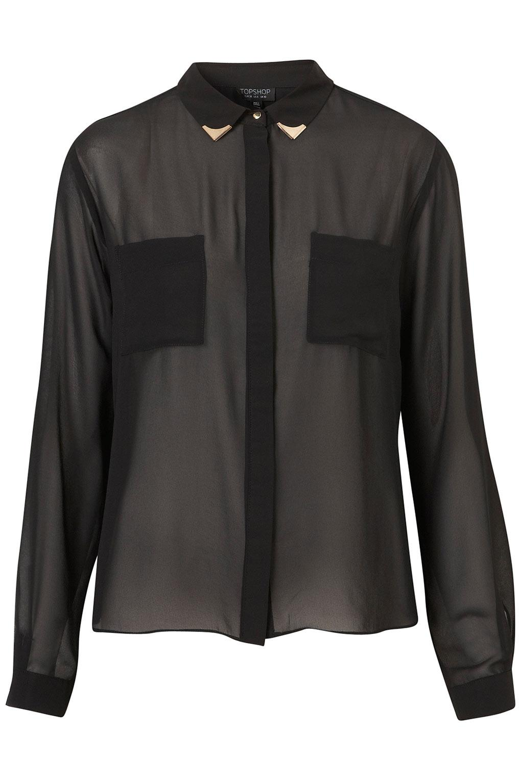 Longsleeve Collar Tip Shirt - Sensationalist - Collections - Topshop