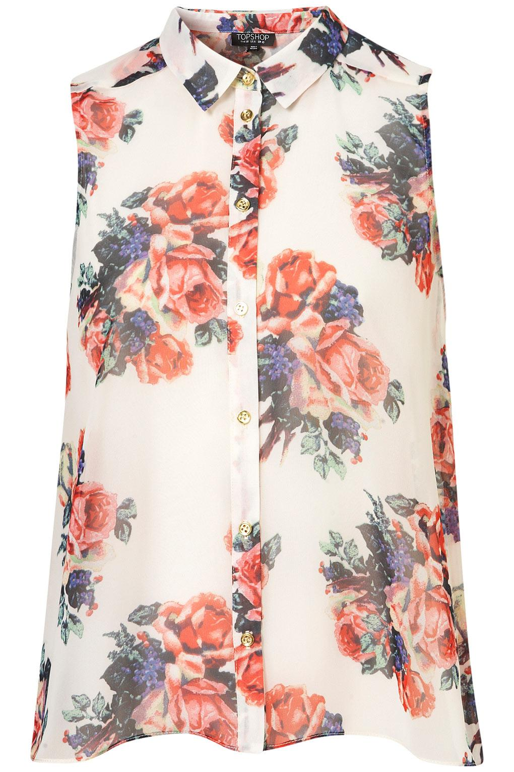 Floral Print Drop Back Shirt - Blouses & Shirts - Tops - Clothing - Topshop