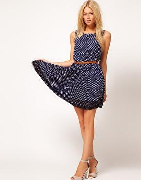 ASOS | ASOS Skater Dress In Spot Print With Lace Hem at ASOS