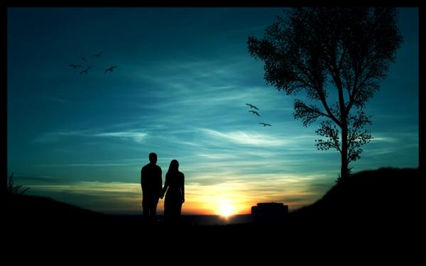 minimalistic,sunset sunset minimalistic trees silhouette couple romantic blue skies 2560x1600 wallpaper – Trees Wallpapers – Free Desktop Wallpapers