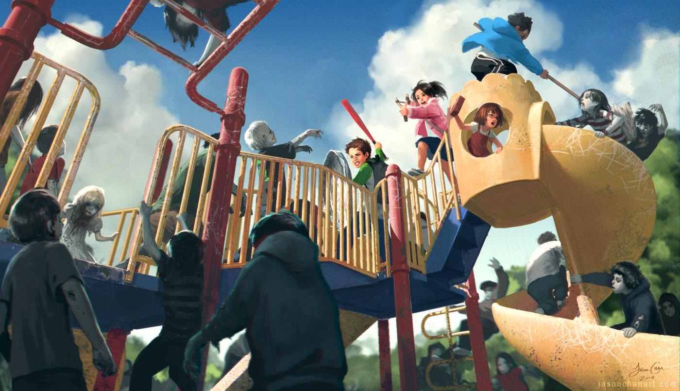 Jason Chan Art: Zombie Playground Prints