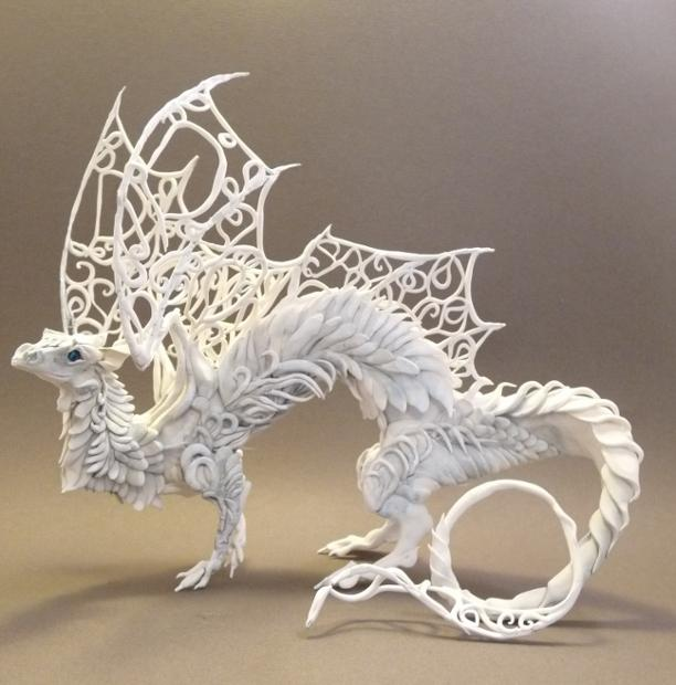 White Lattice Dragon by ~creaturesfromel