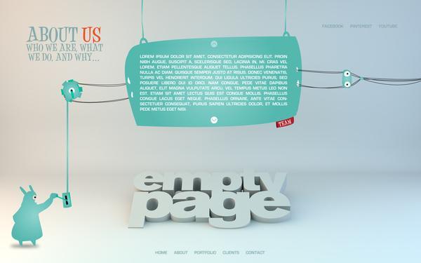 Emptypage website concept on Web Design Served