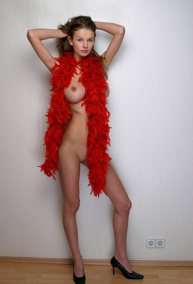 Precious Girl Naked With A Red Leather Scarf Covering Her Bumpers Bald