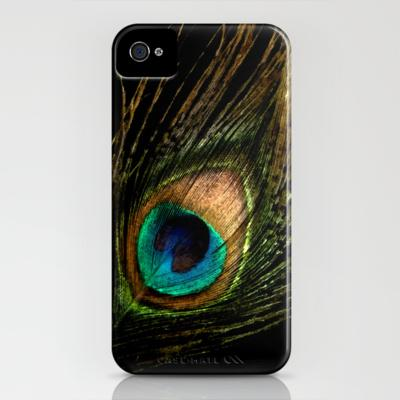 Peacock on Black iPhone Case by Ally Coxon | Society6