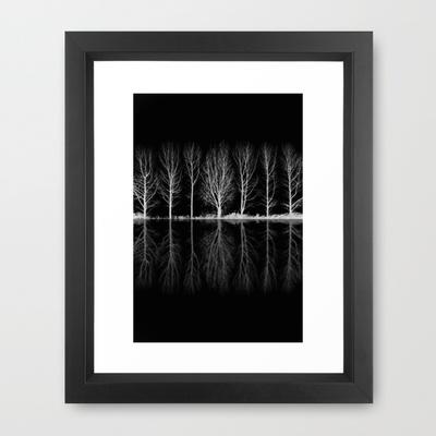 Echo in the Trees B&W Framed Art Print by Ally Coxon | Society6