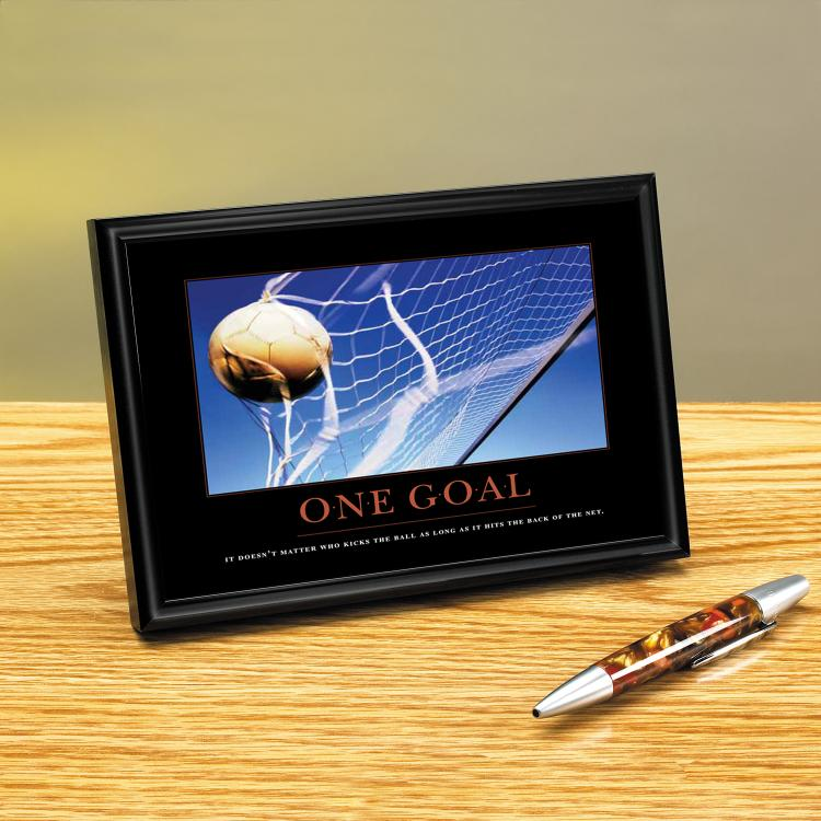 ONE GOAL SOCCER FRAMED DESKTOP PRINT image by Successories - Photobucket