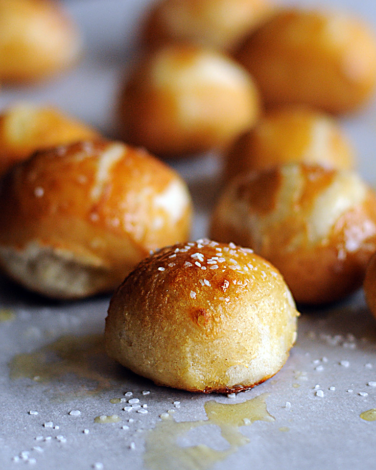Recipe for Mall Food Court Buttery Homemade Pretzel Bites | Dine and Dish