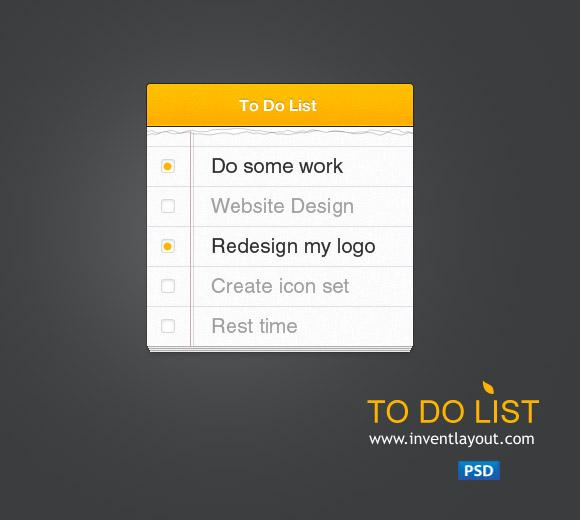 To Do List | Inventlayout.com - Download free PSD, AI resources like textures, icons, buttons, backgrounds and many many more...