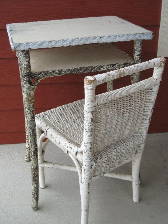 Antique Wicker Table Early 1900s Telephone Table by swoonantiques